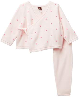 Tea Collection Mila Wrap Sweater Outfit (Baby Girls)