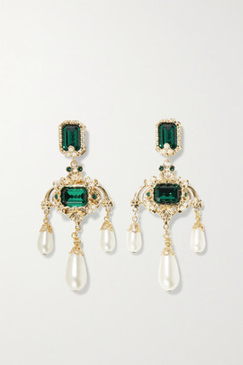 Dolce & Gabbana Gold-tone, Crystal And Faux Pearl Clip Earrings - Green