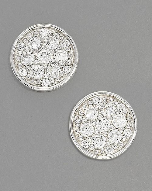Crislu Glamour Coin Stud Earrings