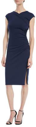 Diane von Furstenberg Cap-Sleeve Ruched Jersey Dress