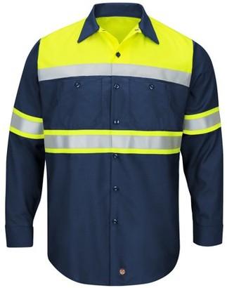 Red Kap Men's Long Sleeve Hi-Visibility Colorblock Ripstop Work Shirt - Type O, Class 1