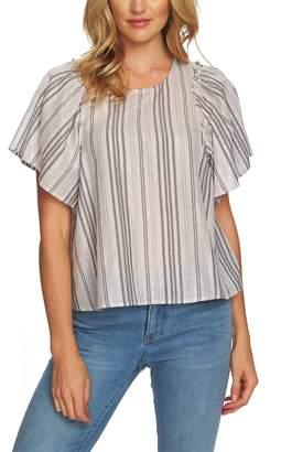 CeCe Metallic Stripe Flutter Sleeve Blouse