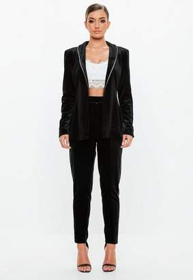 Missguided Black Velvet Tuxedo Blazer, Black