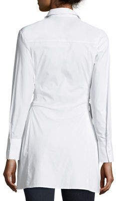 Neiman Marcus Corset-Side Button-Front Tunic