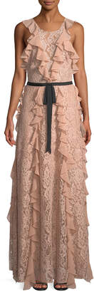 Sachin + Babi Melody Lace-Illusion Evening Gown