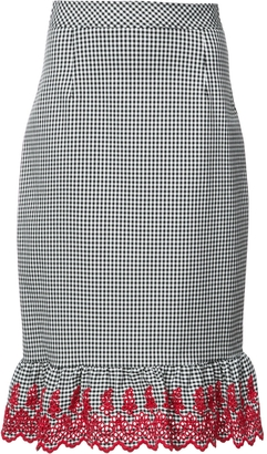 Gingham Embroidered Pencil Skirt
