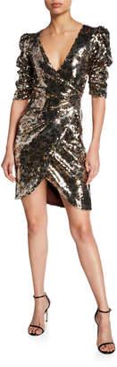 Monique Lhuillier Leopard-Print Sequined Ruched Half-Sleeve Cocktail Dress