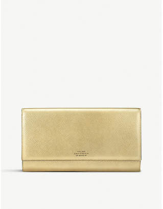 Smythson Panama Marshall metallic-leather travel wallet