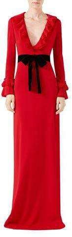Gucci Gucci Viscose Jersey Gown with Ruffles, Red