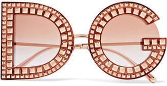 Dolce & Gabbana Crystal-embellished Acetate And Rose Gold-tone Sunglasses - Pink