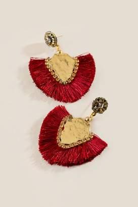 francesca's Koralee Stone Tassel Earrings - Burgundy
