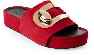 Stella Luna Red Suede Platform Slide Sandals