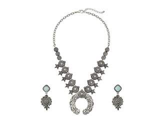 M&F Western Etched Squash Blossom Necklace/Earrings Set