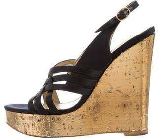 Saint Laurent Satin Wedge Sandals