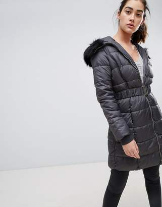 New Look belted quilted jacket