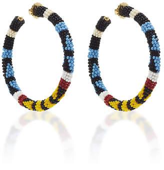 Oscar de la Renta Beaded Pattern 5Cm Hoop Earrings