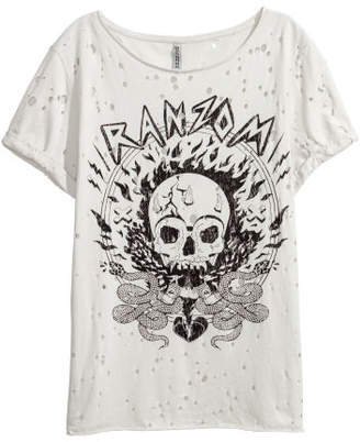 H&M Trashed T-shirt with Print - Beige