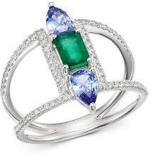 Bloomingdale's Emerald & Tanzanite Ring with Diamonds in 14K White Gold - 100% Exclusive
