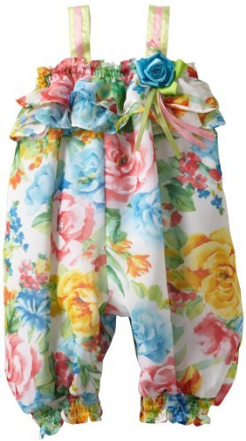 Bonnie Baby Girls Infant Cabbage Rose Print Chiffon Coverall