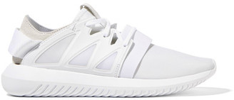 Adidas Originals - Tubular Suede-paneled Neoprene Sneakers - White $100 thestylecure.com