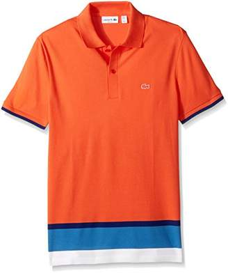 Lacoste Men's Short Sleeve Engineered Stripe Botton Pique Slim Polo