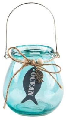 Home Essentials & Beyond Glass Fish Votive Holder in Aqua