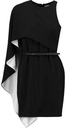 Halston Asymmetric Draped Crepe Mini Dress