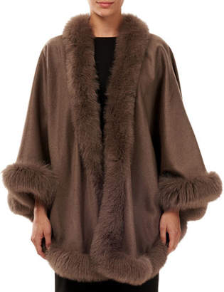 Gorski Cashmere Capelet with Fox Fur Trim