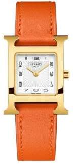 Hermes Watches Heure H, Gold Plate& Leather Strap Watch