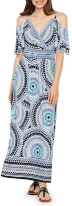 London Times Short Sleeve Geometric Maxi Dress-Petite