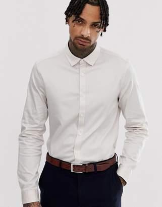 Asos DESIGN wedding slim fit sateen shirt in light pink