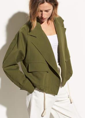 Cropped Cotton Lapel Jacket