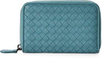 Bottega Veneta Aqua Intrecciato Nappa Leather Zip Wallet