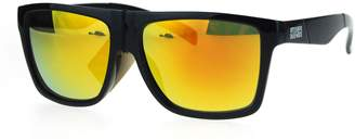 SA106 Mens Kush Sport Black Plastic Horn Rim Mirror Lens Gangster Sunglasses