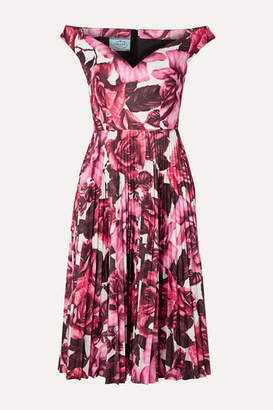 Prada Off-the-shoulder Floral-print Pleated Cotton-poplin Dress - Pink