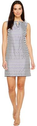 Ellen Tracy Striped Twill Dress with Neckline Embellishment Women's Dress