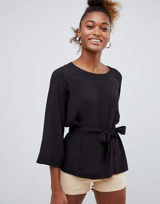 Monki tie waist blouse in black