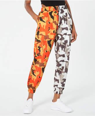 Waisted Two-Tone Camo-Print Parachute Pants