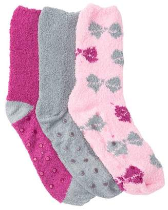 Betsey Johnson Pink Bow Patterned Fuzzy Socks - Pack of 3