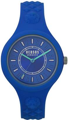Versus By Versace Women's Fashion Fire Island 3 Hands Quartz Dial /Turquoise Silicone Strap Watch (Model:VSPOQ2618)