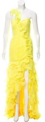 Jovani Ruffle-Trimmed Strapless Gown w/ Tags