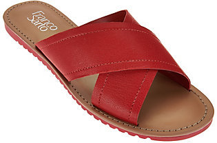 Franco Sarto Leather Cross Strap Slide Sandals - Quentin $24.42 thestylecure.com