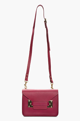 Sophie Hulme Mini Burgundy Leather Envelope Shoulder Bag