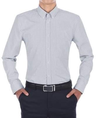 Verno Mens Navy Blue and White Plaid Slim Fit Dress Shirt