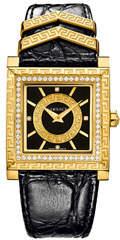 Versace 30mm DV-25 Square Watch w/ Diamonds & Leather Strap, Black/Golden