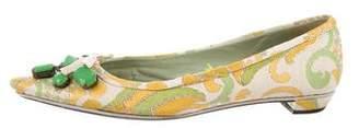 Prada Embellished Pointed-Toe Flats