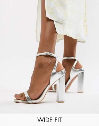 Lost Ink Wide Fit Lost Ink Silver Block Heel Ankle Strap Sandals