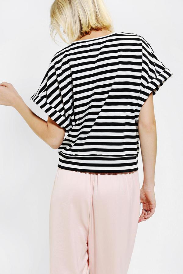 Urban Outfitters Coincidence & Chance Slub Stripe Roll-Sleeve Tee