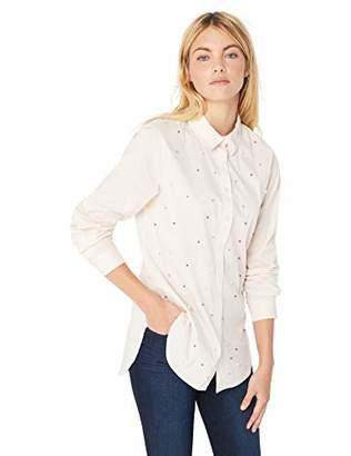 Calvin Klein Women's Poplin Roll Sleeve All Over Pearl