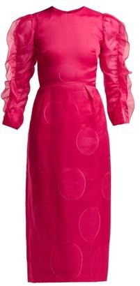 Carolina Herrera Polka Dot Fil Coupe Silk Blend Dress - Womens - Fuchsia